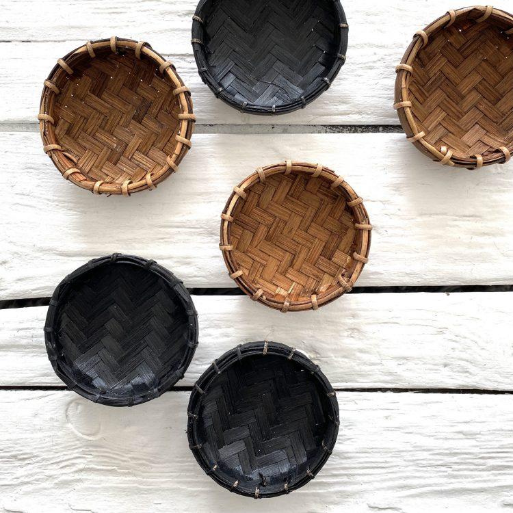 Bamboe offerschaaltjes bruin en zwart